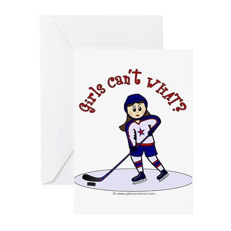 Light Hockey Girl Greeting Cards (Pk of 20)