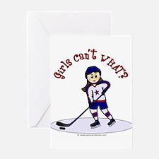Light Hockey Girl Greeting Card