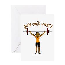 Dark Girl Weightlifting Greeting Card