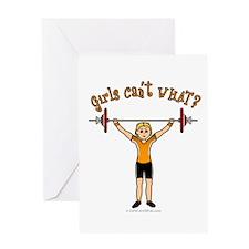Blonde Weightlifting Greeting Card