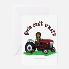 Dark Red Farmer Greeting Card