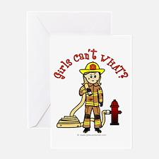 Blonde Firefighter Girl Greeting Card