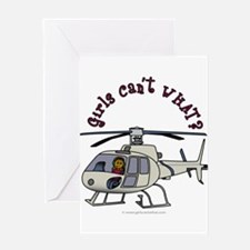 Dark Helicopter Pilot Greeting Card