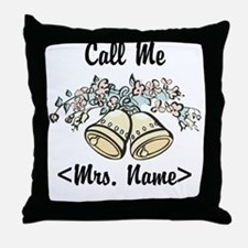 Custom Just Married (Mrs. Name) Throw Pillow