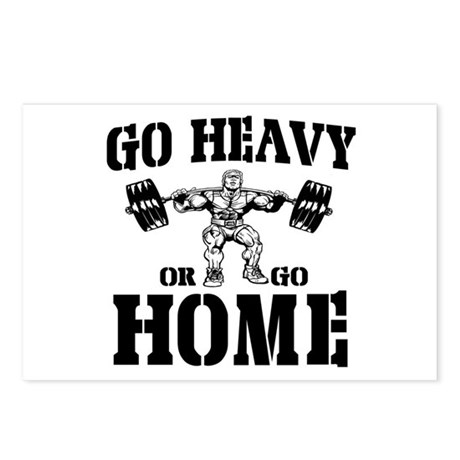 Go Heavy Or Go Home Weightlifting Postcards (Packa