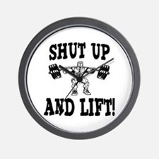 Shut Up And Lift Weightlifting Wall Clock
