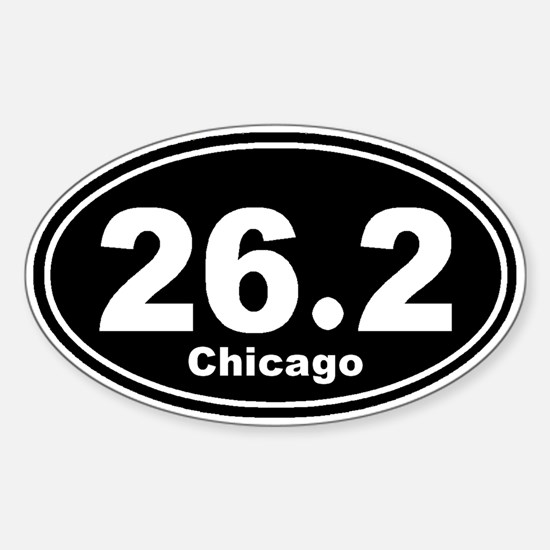 26.2 chicago black Sticker (Oval)