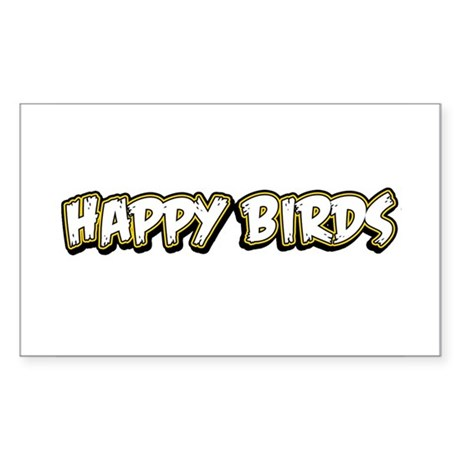 Funny Happy Birds Sticker (Rectangle)