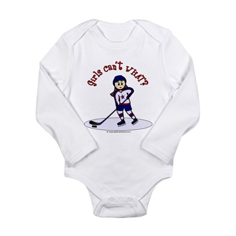 Light Hockey Girl Long Sleeve Infant Bodysuit