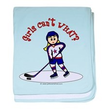 Blonde Hockey Girl baby blanket