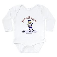 Blonde Hockey Girl Long Sleeve Infant Bodysuit