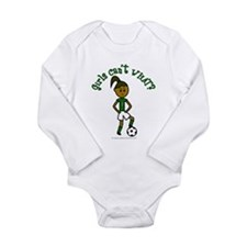 Dark Green Soccer Long Sleeve Infant Bodysuit
