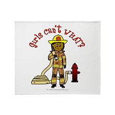 Girl Firefighter Throw Blanket