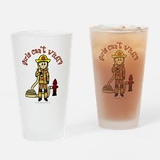 Blonde Firefighter Girl Drinking Glass