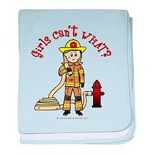 Blonde Firefighter Girl baby blanket