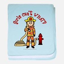 Blonde Firefighter Girl baby blanket