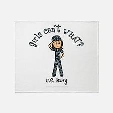 Light Navy Girl USA Throw Blanket