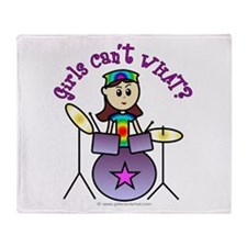 Light Girl Drummer Throw Blanket