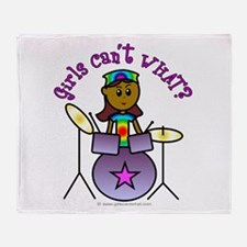 Dark Girl Drummer Throw Blanket
