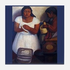 Diego Rivera Tortilla Maker Art Tile Coaster