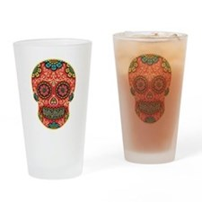 Red Sugar Skull Drinking Glass