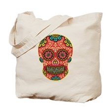 Red Sugar Skull Tote Bag
