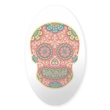 Red Sugar Skull Decal