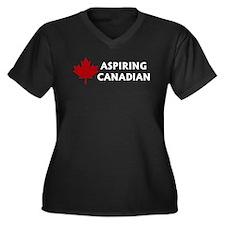 Aspiring Canadian Women's Plus Size V-Neck Dark T-