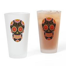 Black Sugar Skull Drinking Glass