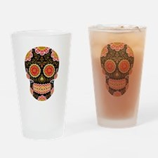 Black Sugar Skull Drinking Glass