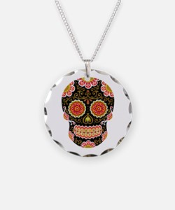 Black Sugar Skull Necklace Circle Charm
