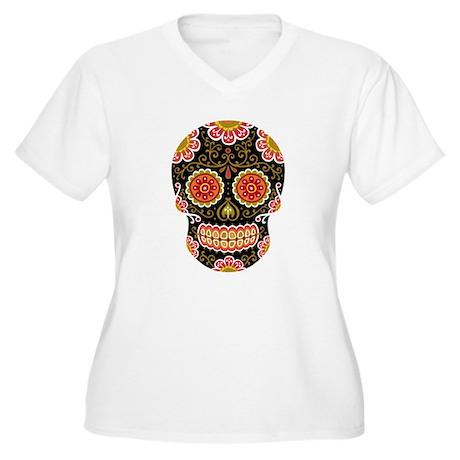 Black Sugar Skull Women's Plus Size V-Neck T-Shirt
