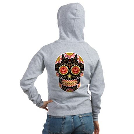Black Sugar Skull Women's Zip Hoodie