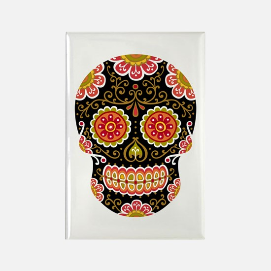 Black Sugar Skull Rectangle Magnet