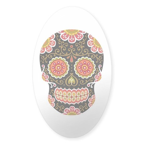 Black Sugar Skull Sticker (Oval)