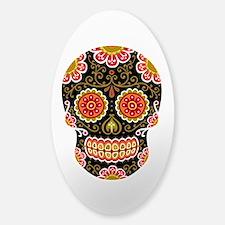 Black Sugar Skull Sticker (Oval)