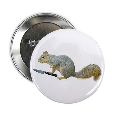 """Squirrel with Knife 2.25"""" Button"""