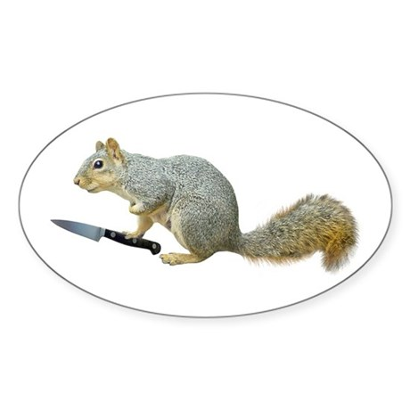 Squirrel with Knife Sticker (Oval 10 pk)