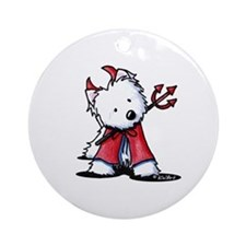 Little Devil Westie Ornament (Round)