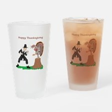 Thanksgiving Karate Turkey Drinking Glass