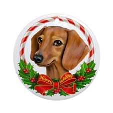 Doxie Wreath Ornament (Round)