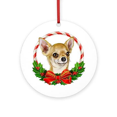 Chihuahua Wreath Ornament (Round)