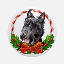 Scottie Wreath Ornament (Round)