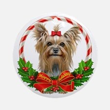 Yorkie Wreath Ornament (Round)