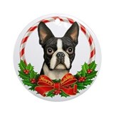 Boston terriers christmas round Round Ornaments