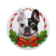 Frenchie Wreath Ornament (Round)