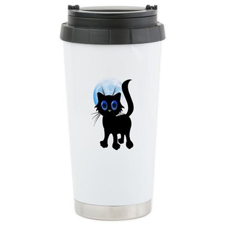 Black Halloween Kitten Stainless Steel Travel Mug