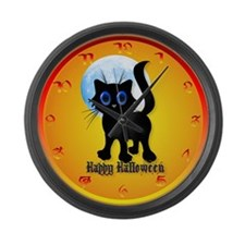 Black Halloween Kitten Large Wall Clock
