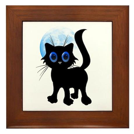 Black Halloween Kitten Framed Tile