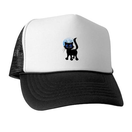 Black Halloween Kitten Trucker Hat